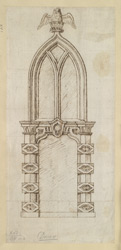 Elevation of a doorway and window at St Marys Church, Dover